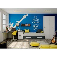 Conjunto juvenil   Soul Blanco y grafito    Una cama compacta de 90 por 190 cm con dos cajones, un estante de 100 cm y un armario de dos puertas, correderas, de 100 de largo por 220 cm de alto.    Sayez