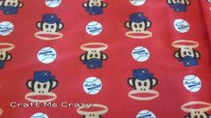 Paul Frank baseball cotton flannel fabric by the half yard.  Red, White, Blue