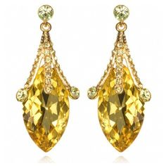 Clea's Fancy Yellow Crystal Drop Earrings - As Seen on The Today Show ($45) ❤ liked on Polyvore