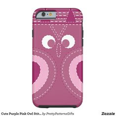Cute Purple Pink Owl Stitched Look iPhone 6 Case