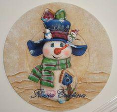 *SNOWMAN ~ Supla de mdf decorado com aplicação de porcelana fria R$90,00