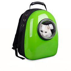 Astronaut Capsule Pet Backpack Transparent Breathable Dog Cat Carrier Travel Bag (Green)