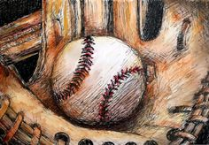 Baseball and Glove drawing by ColorsbyMegan on Etsy