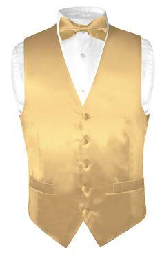 gold vest and tie | Biagio Men's Solid GOLD Color SILK Dress Vest Bow Tie Set size 2XL