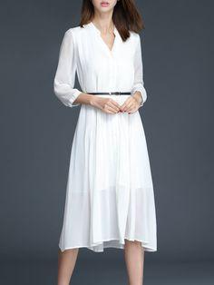 Pleated Short Sleeve Casual Midi Dress