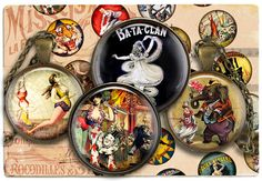 Digital Collage Sheet Printable images for Bottle Cap 1.5inch 18mm 14mm 1inch circle Cabochon images Instant download Vintage Circus C94