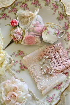 little pink items in porcelin dish.