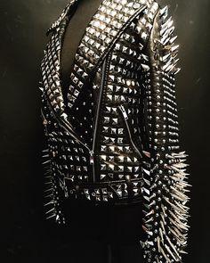 Made to order Hell Raiser leather Full metal studded spiked black biker Punk jacket Stud and spike jacket party wear fashion - Punk - - Studded Leather Jacket, Biker Leather, Real Leather, Black Leather, Leather Jackets, Cowhide Leather, Custom Leather, Leather Coats, Studded Belt