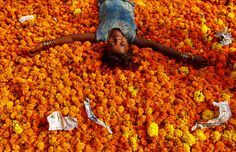 A girl plays on a pile of discarded flowers outside a market, the day after the Diwali celebrations in Mumbai, India, on October 31, 2016. #  Shailesh Andrade / Reuters  Photos of the Week: 10/29–11/4 - The Atlantic