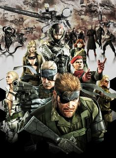 A very amazingly well done piece of artwork featuring most of the characters from the Metal Gear Solid games.