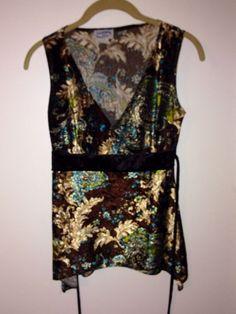 WEATHERVANE Ladies Petite S Sleeveless Brown Paisley Design Soft Dress Blouse #Weathervane #Blouse #EveningOccasion $8.99 @Ebay