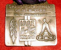 ART DECO Rare Old ODD FELLOWS New York BRASS JEWEL! 1940 Grand Encampment Of NY!