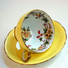 Vintage Bright Yellow Tea Cup and Saucer with Flowers Marked Floral Bone China Stafforshire