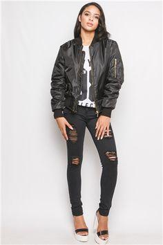 Kylie Black Zip Front Bomber Jacket at misspap.co.uk