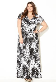 Scribble Wrap Maxi Dress-Plus Size Dress-Avenue