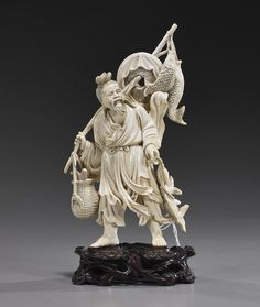 CHINESE IVORY CARVING | 414: Chinese Carved Ivory Fisherman Sage : Lot 414