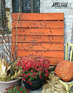 always give thanks pallet project, pallet, seasonal holiday decor, thanksgiving decorations