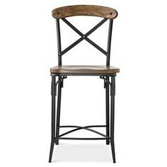 """• Steel construction<br>• Wood legs<br>• Supports up to 200 pounds<br>• Seat-to-floor height: 23""""<br>• Seat width: 19""""<br>• 40x19.5x24""""<br>• Wipe clean with a damp cloth<br>• Ages 3 and up<br><br>Add some seating style to your counter or bar area with the Bralton 24"""" Counter Stool in Steel/Brown from The Industrial Shop. This vintage-inspired s..."""