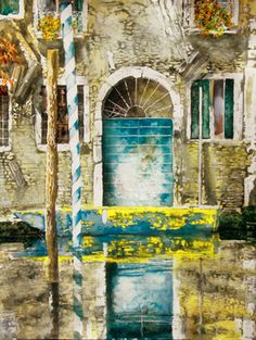 """blue canal door (4) venice  30"""" x 22""""  micheal zarowsky / watercolour on arches paper (private collection)"""