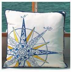 Embroidered Nautical Compass Rose Pillow by Rightside Design