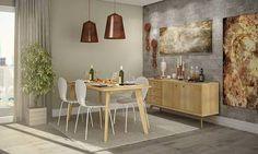 Conjunto para Sala de Jantar com Mesa, 4 Cadeiras e Balcão Mel Palha/Castanho/Branco - Caaza