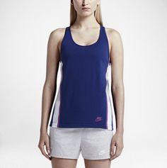 New Women's Nike Bonded Tank Top 726023-455 Blue Purple Racerback Medium Bin 3  #Nike #ShirtsTops