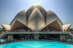 Lotus temple - An HDR image of the Bahá'í House of Worship at Delhi in India, also known as the Lotus Temple