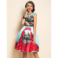 TS Ethnic Print Wasp Waist Swing Dress – GBP £ 34.07