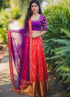 Half Saree Designs, Lehenga Designs, Blouse Designs, Mehndi Designs, Indian Skirt, Indian Dresses, Indian Outfits, Indian Clothes, Half Saree Lehenga
