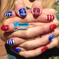 4th of July nail design I did for a friend. #crystals #diamonds #nails #nailart #naildesign #nailsofig #naildesigns #nailswag #manicure #instaglam #mani #gel #gelnails #gelish #prettygirlswag #fashion #beauty #instaglam #summer #red #white #blue #4thofjuly #july4th #patriotic #nautical #AMERICA