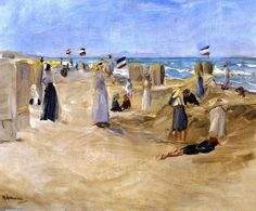 'On the Beach at Noordwijk', Oil On Canvas by Max Liebermann (1847-1935, Germany)