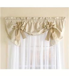 Cotton Duck Striped Bow Tie Window Valance