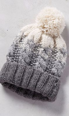 NO PATTERN - - Telford Beanie #anthroregistry. FOR INSPIRATION ONLY.  Love the cables and gradation in color.