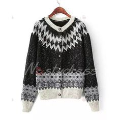 Simple V-Neck Color Block Geometrical Pattern Long Sleeve Cardigan For Women