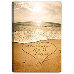 Sand Writing Personalized Wedding Art Canvas Prints Gift, includes Names and the Special Date - Perfect Gift for the Wedding Anniversary.
