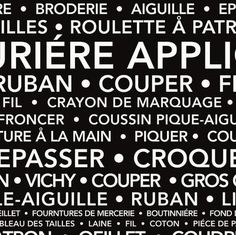 Couturiere Parisienne by J. Wecker Frisch for Riley Blake Designs is great for quilting, apparel and home decor. This print features French text on a black background. Riley Blake, How To Look Classy, Quilt Top, Thing 1 Thing 2, Black Fabric, Black Backgrounds, French, Couture, Fabrics