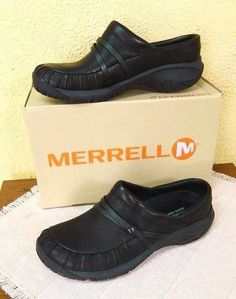 New Merrell Encore Clogs 7/37.5 Black Pleated Leather Strap Accent Low Heel Work #Merrell #Clogs #CasualWeartoWork