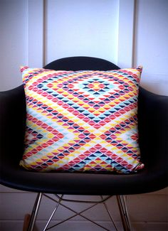 Love this Sunset Rainbow pillow printed with eco-friendly ink. #AmandaBrown #BrownBearStudio