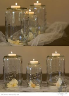 Upside down mason jar over a flower bloom, with tea light on top. Set on tulle or raffia as wedding centerpiece or other decor. #MyOnlineWeddingHelp