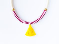 summer necklace | #ds #deuxsoray #striped #rope #necklace #ropenecklace #handmade #jewelry #summernecklace #summer #yellow #leather #etsy #seller #sisters #tassel #tasselnecklace #original #design #youcanshaketheworld Yellow Necklace, Summer Necklace, Rope Necklace, Unique Jewelry, Handmade Jewelry, Tassels, Yellow Leather, Trending Outfits, Handmade Gifts