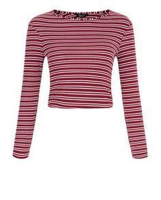 Teens Burgundy Double Stripe Ribbed Long Sleeve Top | New Look