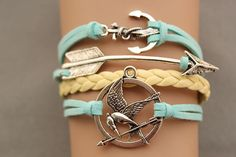 Cute collection of spring/summer-colored Hunger Games bracelets! arrow bracelet anchor bracelet  games bracelet antique silver pendant,green rope and yellow braid bracelet(AB028)