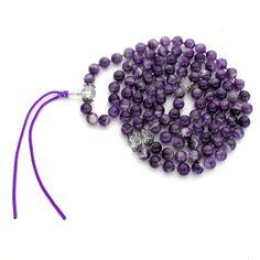 8mm Chevron Amethyst & Quartz Crystal 108 Tibetan Style Buddhist Malas, Knotted Gemstone Mala Beads Buddhist Rosary Prayer Meditation Yoga