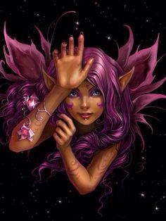 Fairy Elf Pointed Ears Fuchsia Wings And Hair Love Fairy, Fairy Dust, Fairy Land, Fairy Tales, Forest Fairy, Elfen Tattoo, Pixies, Kobold, Glitter Images