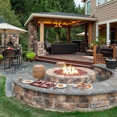 Fire pit w/seatwalls & pizza oven - Wheeler - Paradise Restored | Portland, OR | www.paradiserestored.com #pinmydreambackyard #contest Backyard Gazebo, Backyard Seating, Fire Pit Backyard, Backyard Landscaping, Landscaping Ideas, Outdoor Seating, Backyard Storage, Backyard Layout, Backyard House
