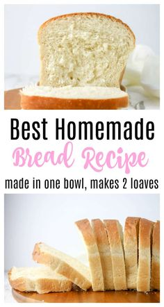 The Best Homemade Bread Recipe - perfect for sandwiches! Makes two loaves so you can enjoy one and freeze the other one. White, fluffy bread with step by step photos so even a beginner baker can tackle this!