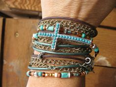 NEW....Boho  Mahogany  Endless Leather Wrap Bracelet by fleurdesignz, $45.00