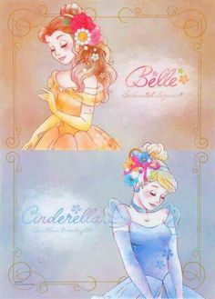 Belle and Cinderella Disney Pixar, Walt Disney, Disney Amor, Disney Nerd, Disney Fan Art, Cute Disney, Disney Girls, Disney And Dreamworks, Disney Cartoons