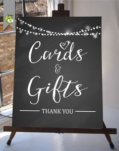 Card & Gift Table  winter wedding Chalkboard  by TheArtyApples