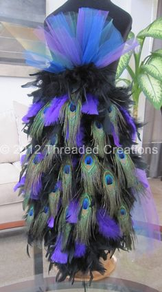 Peacock Feather Bustle Tail For Costume by threadedcreations, $75.00